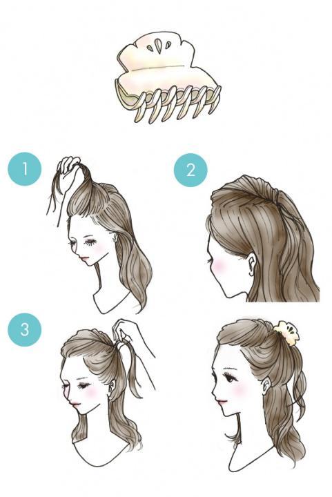 """Убираем волосы с помощью """"крабика"""" или заколки"""