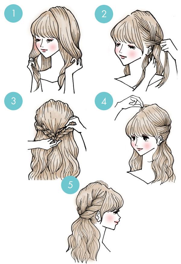 """Еще один способ, как убрать волосы от лица в стиле """"Мальвинка"""""""