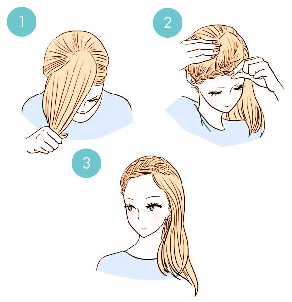 Еще один способ убрать волосы от лица с помощью косы