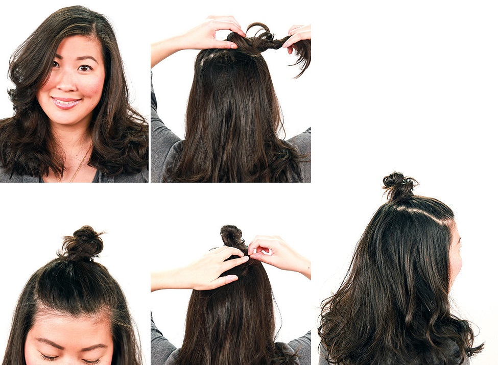 """Небрежная <i>прически для средних волос с распущенными волосами</i> """"Булочка"""" с распущенными волосами"""