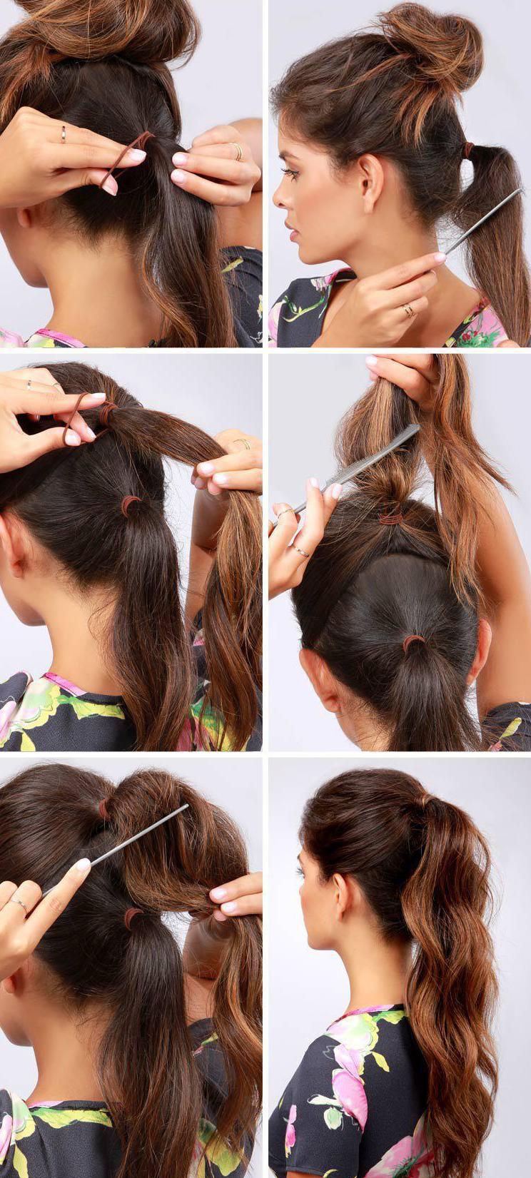 Красивый хвост на длинных волосах