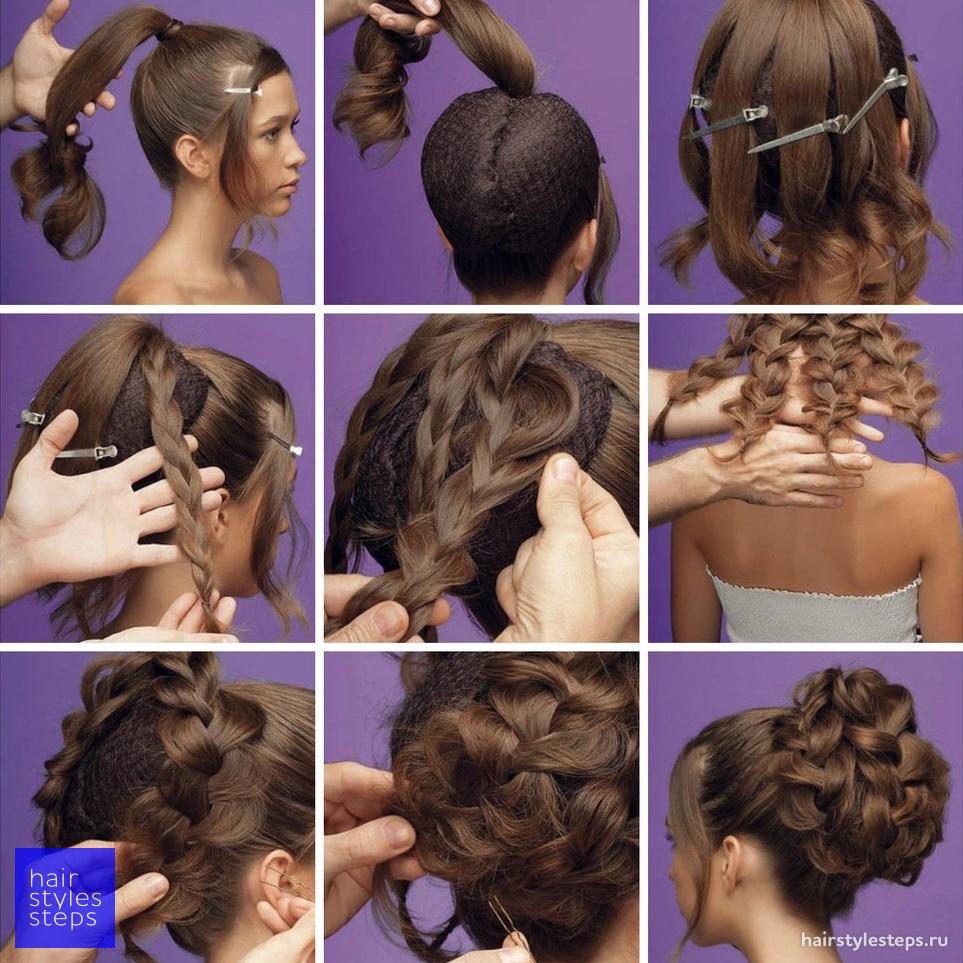 Причёски на средние волосы в домашних условиях пошагово фото 77
