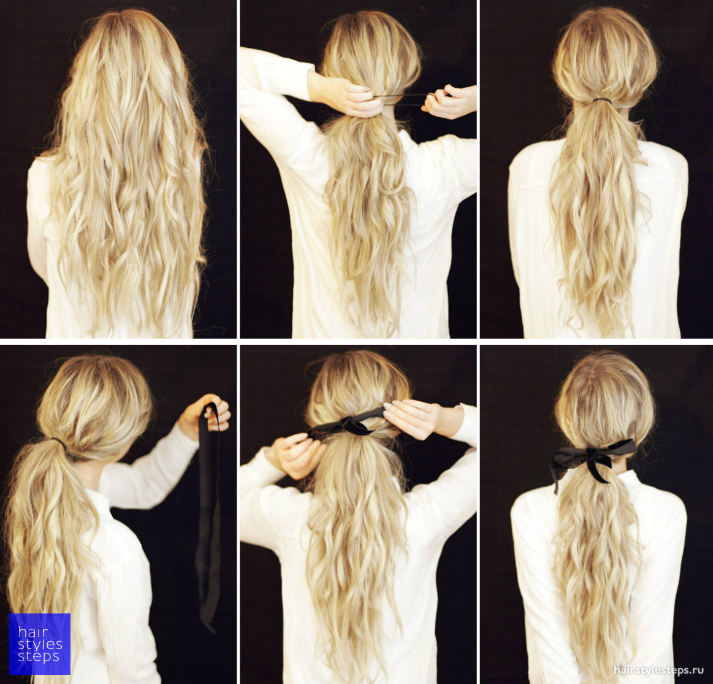 Как делать лёгкую причёску с ленточкой
