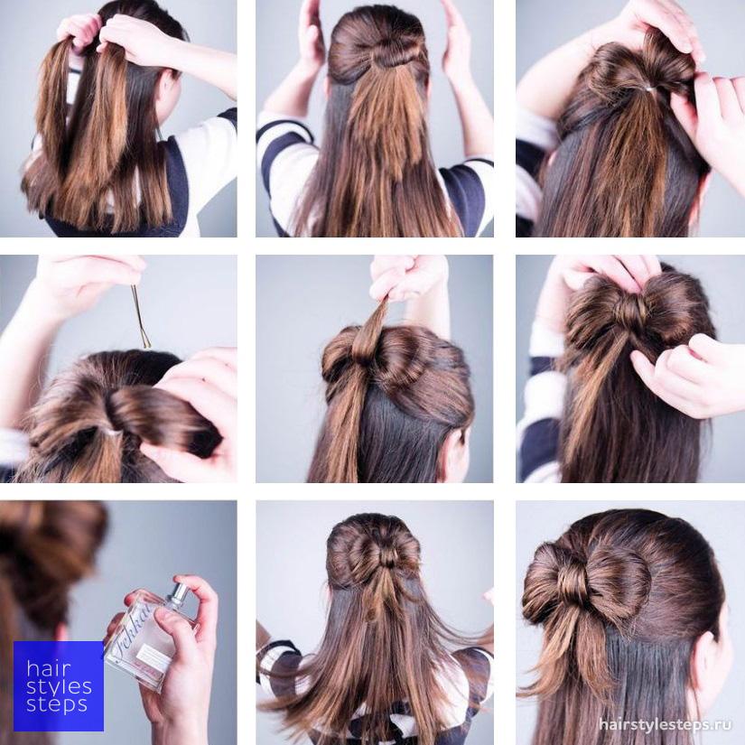 Полураспущенные причёски на средние волосы