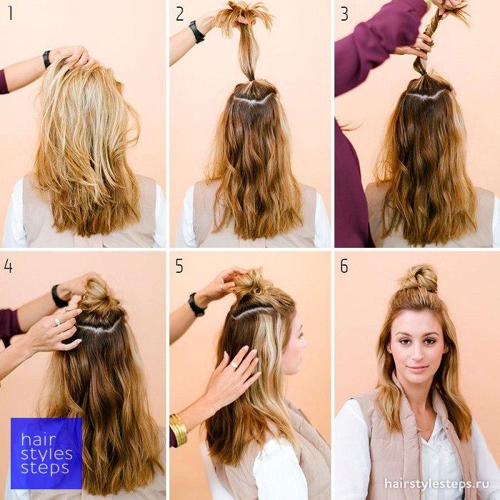 Прическа дулька и распущенные волосы